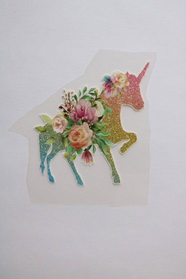 Small Rainbow Sparkle Unicorn Heat Transfer, Iron-On
