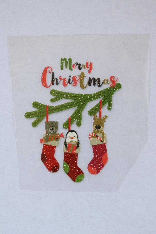 Merry Christmas Hanging Stockings Heat Transfer, Iron-On