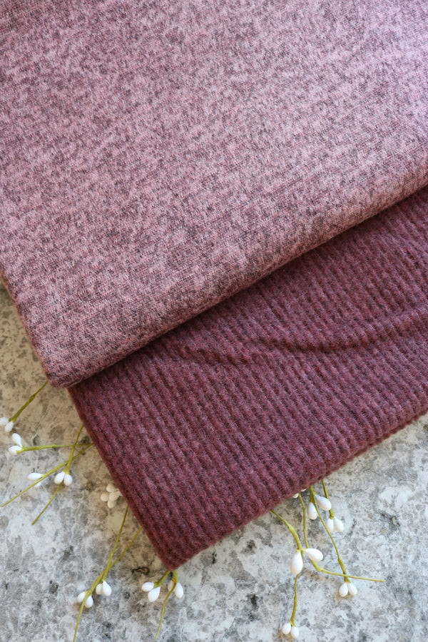 Heathered Mauve Brushed Sweater Knit