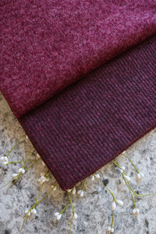 Heathered Burgundy Brushed Sweater Knit