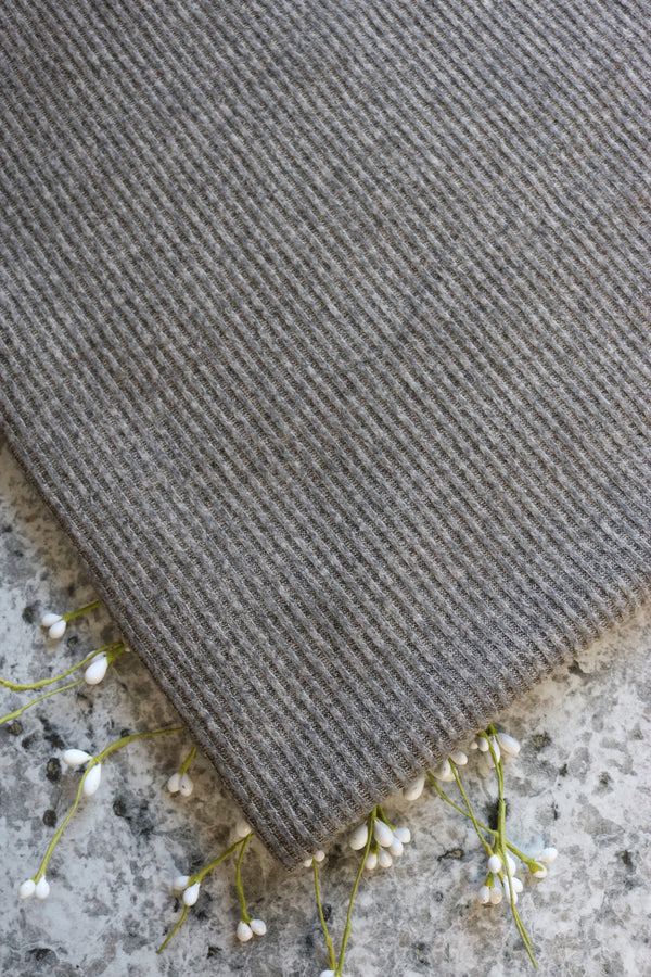 Heathered Oatmeal 3x3 Brushed Rib Sweater Knit