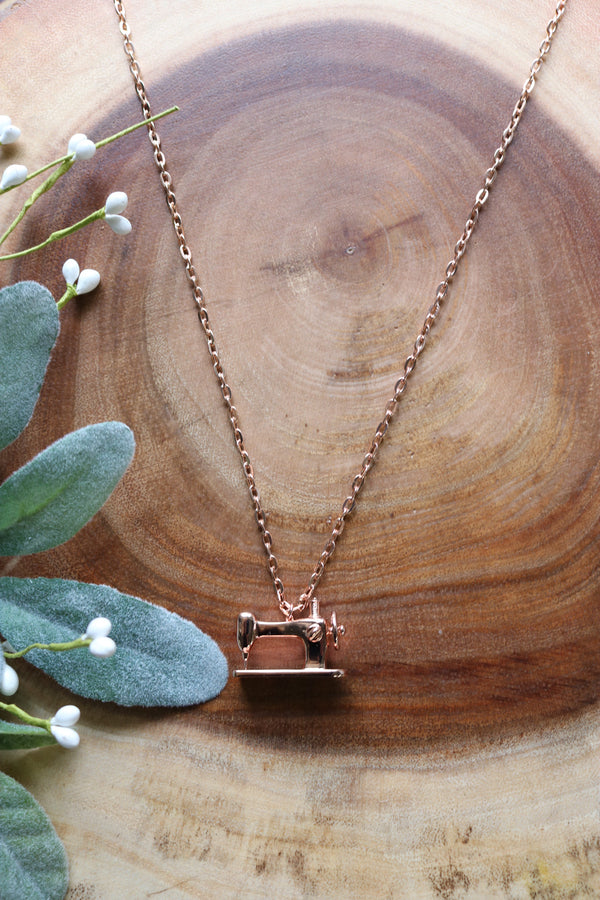 Sewing Machine Necklace- Available in Rose Gold & Silver