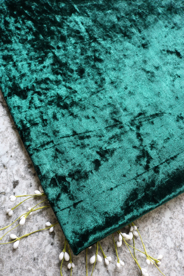 Hunter Green Crushed Stretch Velvet