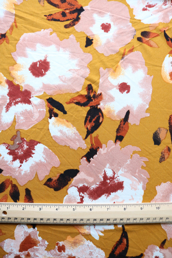 River Floral on Mustard Double Brushed Poly