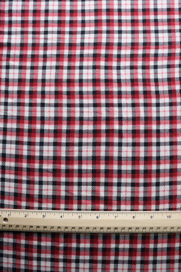Black/Red/Ivory Check Double Brushed Poly