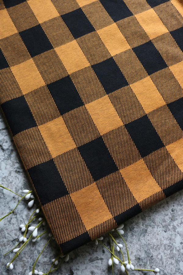 Gold & Black Plaid Jacquard Knit
