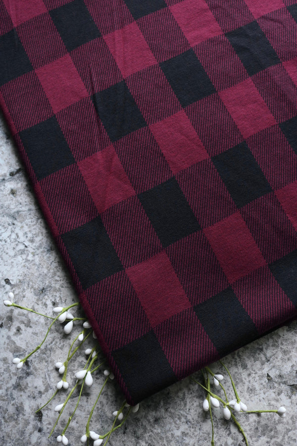 Burgundy & Black Plaid Jacquard Knit