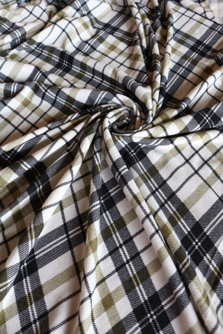 Black/Olive Plaid Spun Poly