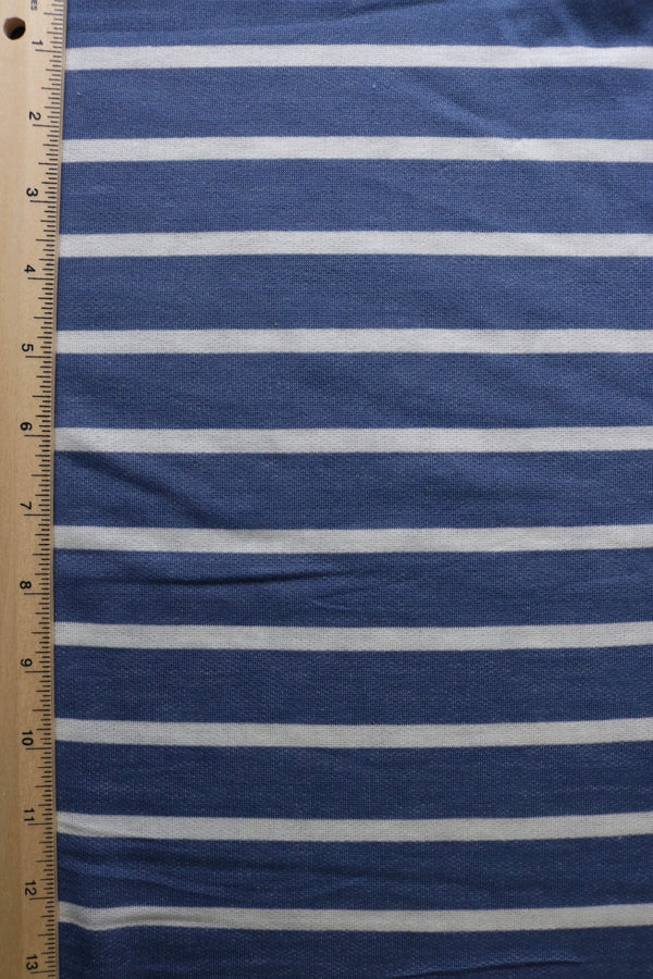 Denim/Ivory Stripe Baby French Terry