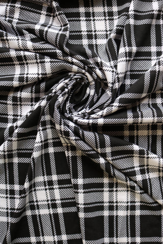 Black/White Plaid Spun Poly