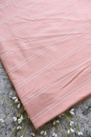 Peach & Ivory Stripe Rayon/Poly/Spandex Crepe Jersey
