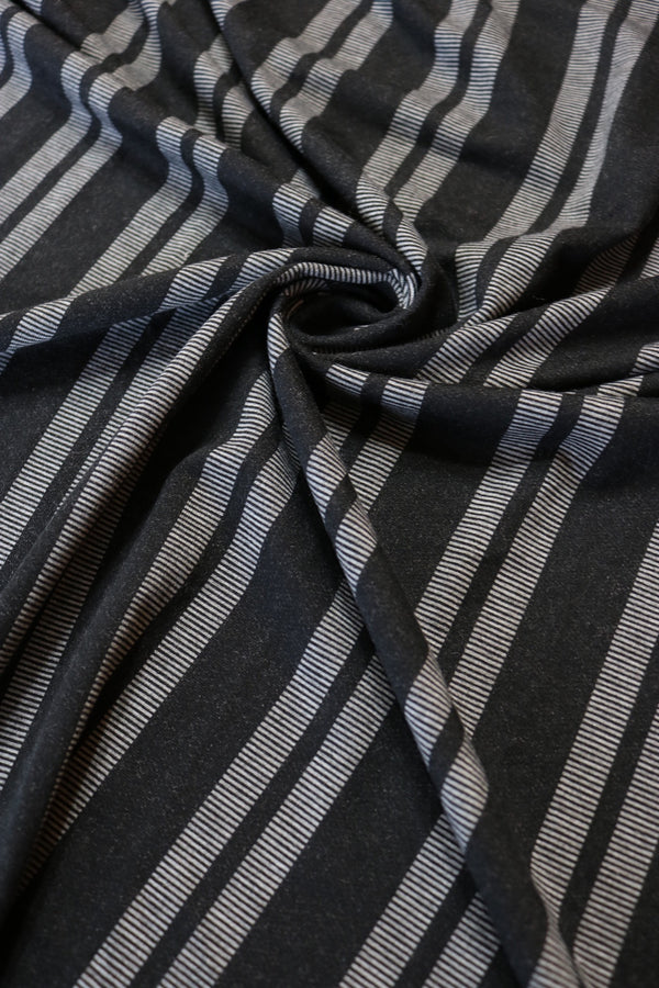 Black Vertical Stripe French Terry
