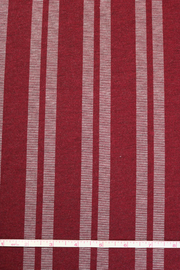 Burgundy Vertical Stripe French Terry