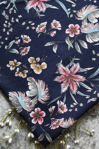 Grace Floral on Navy Wool Dobby