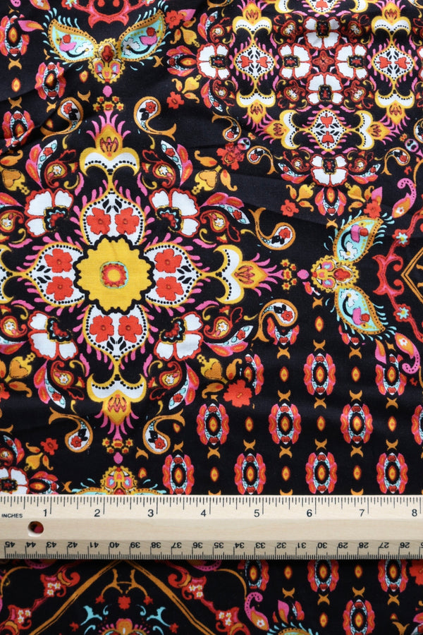 Boho Kaleidoscope on Black Rayon Challis