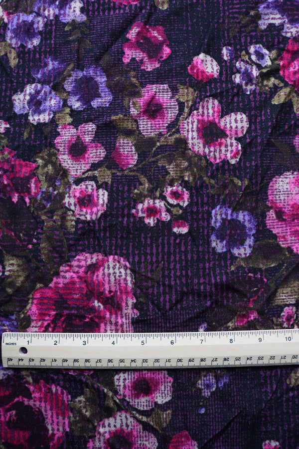 Berry Grunge Floral Techno Crepe