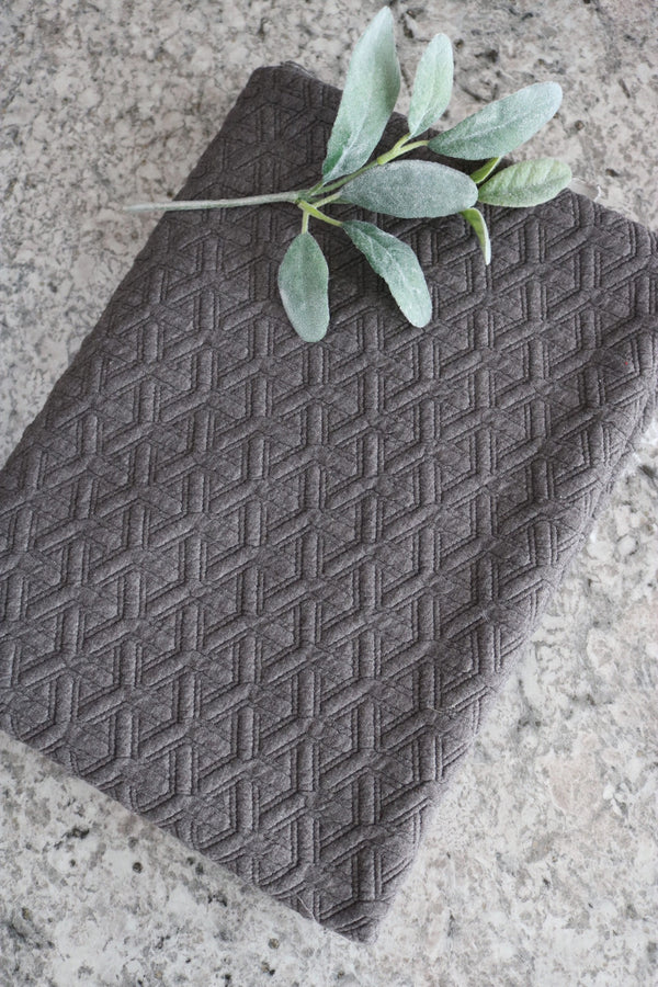 Dark Gray Interwoven Squares Quilted Knit