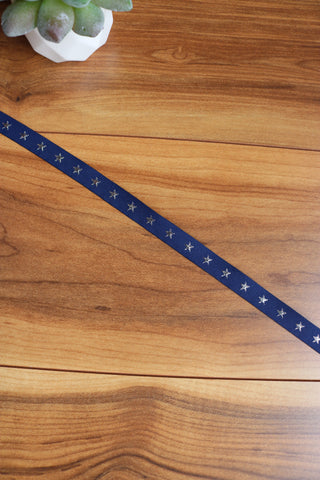 "1/2"" Woven Navy/Silver Star Tape"