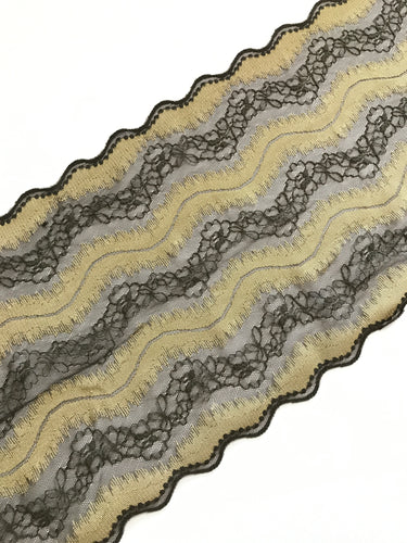 "Chocolate & Gold 7.5"" Wide Stretch Lace"
