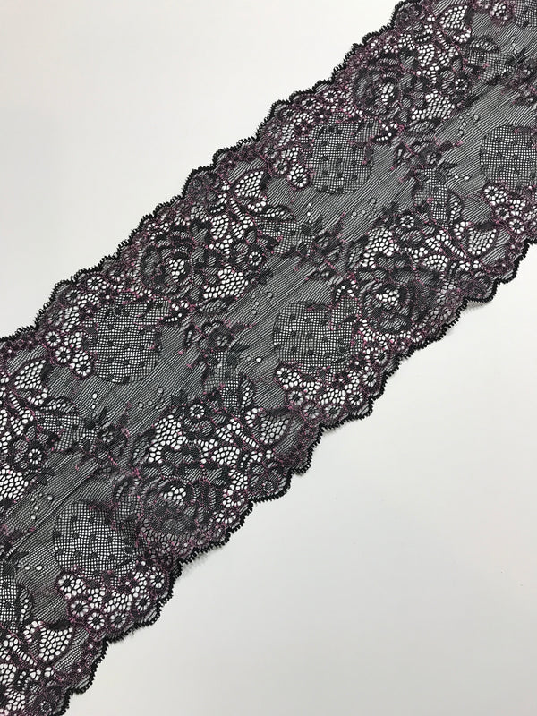 "Black & Pink 6.25"" Wide Stretch Lace"