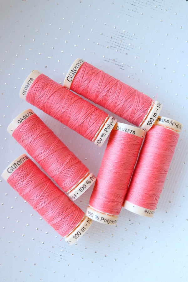 Coral Red Gutermann Sew All Polyester Thread- 100M