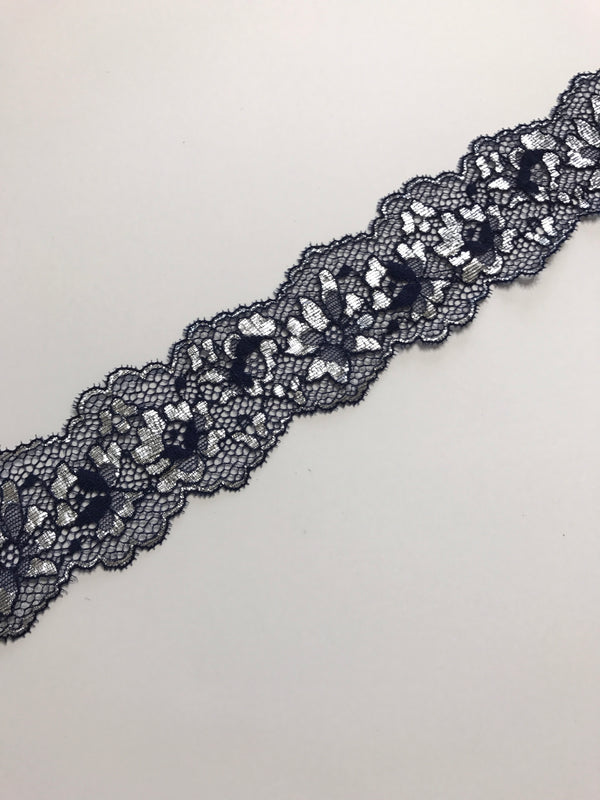 "Navy & Silver 2.25"" Wide Stretch Lace"