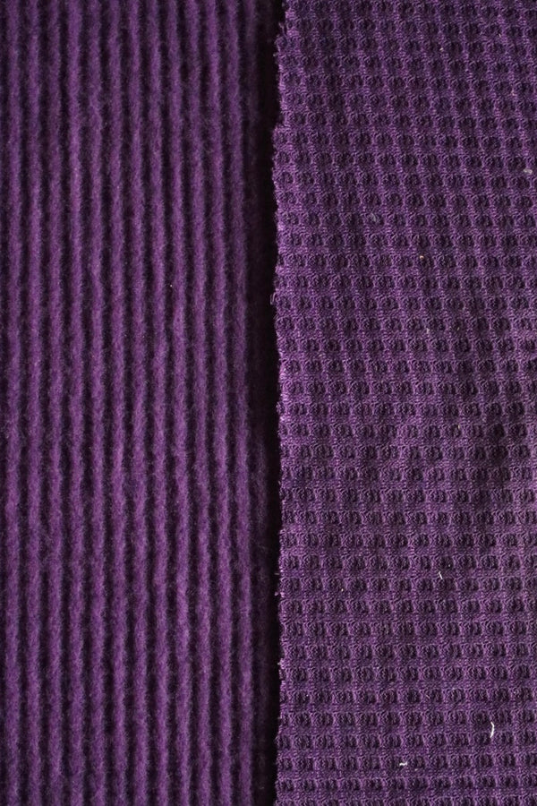 Dark Purple Brushed Waffle Sweater Knit