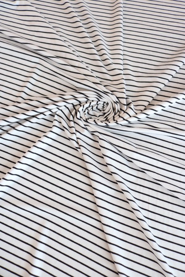 Ivory & Black Stripes Double Brushed Poly