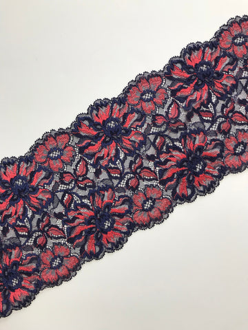 "Navy & Red 6.75"" Wide Stretch Lace"