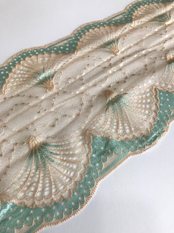 "Seafoam & Cream 7.5"" Wide Stretch Lace"