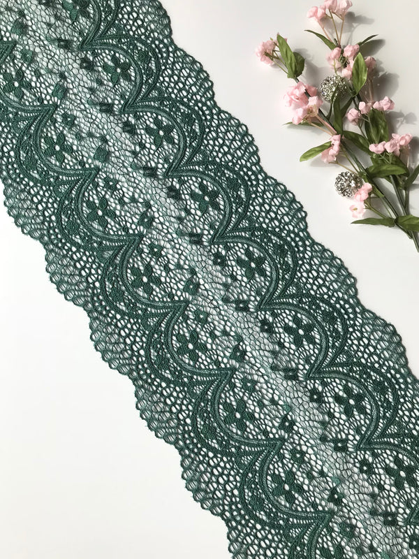 "Pine Green 7.5"" Wide Stretch Lace"