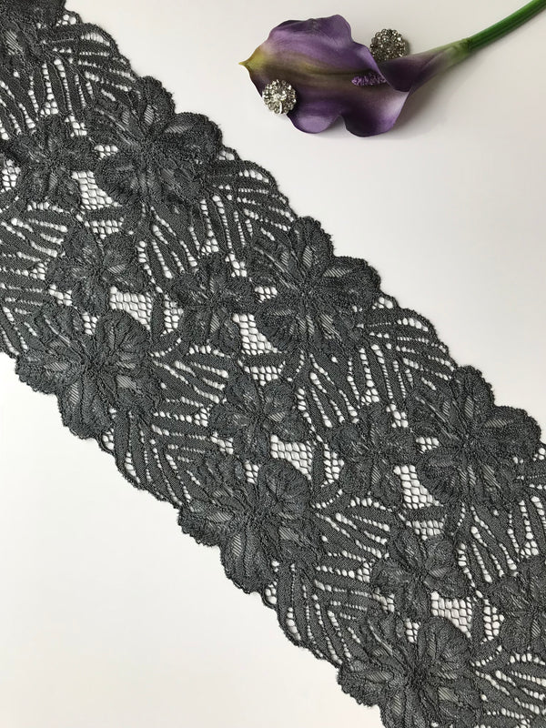 "Pebble Gray 7.5"" Wide Stretch Lace"