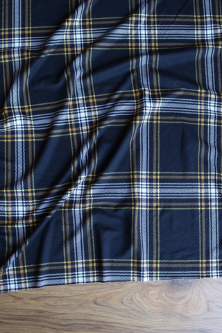 Black & Yellow Window Pane Plaid Double Brushed Poly