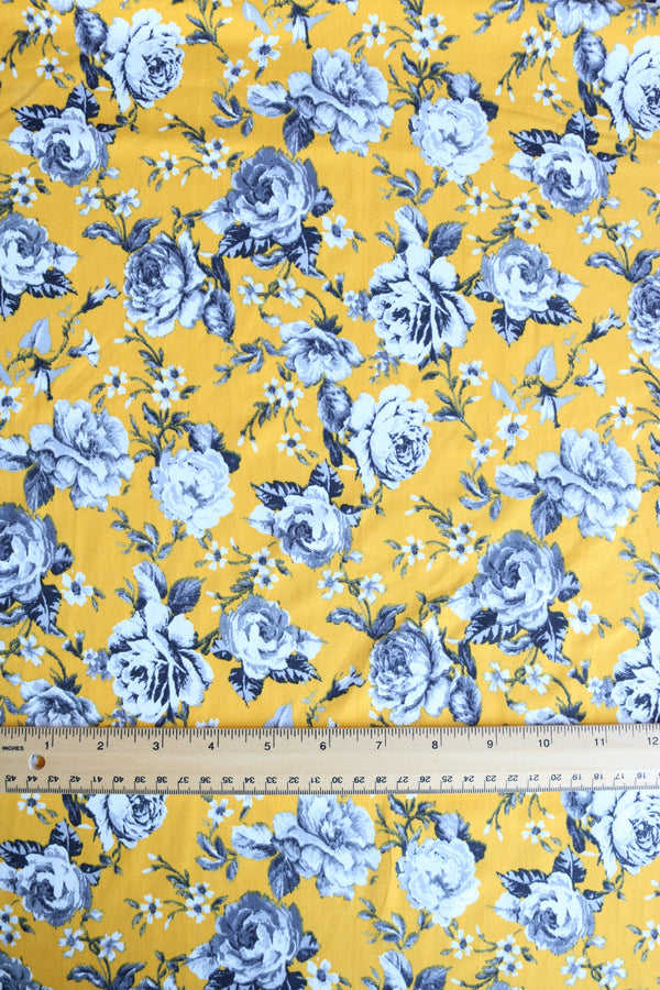 Stacie Floral on Golden Yellow Double Brushed Poly