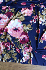 Sheri Floral on Navy Double Brushed Poly