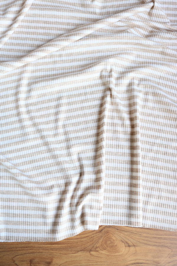 Oatmeal & White Stripe Poly Rib Knit