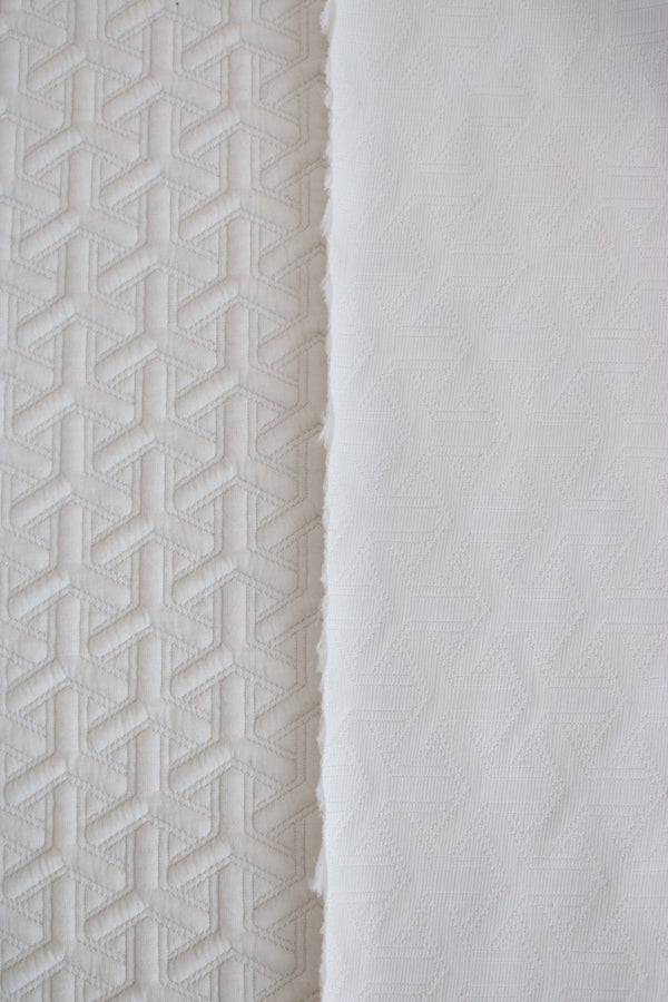 Ivory Interwoven Squares Quilted Knit