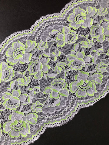 "White & Neon Yellow 8.75"" Wide Stretch Lace"