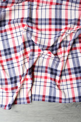 Navy/Red on Ivory Plaid French Terry