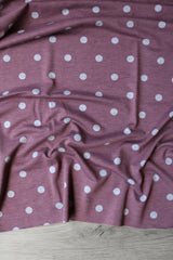 Heather Grey Polka Dot On Mauve French Terry