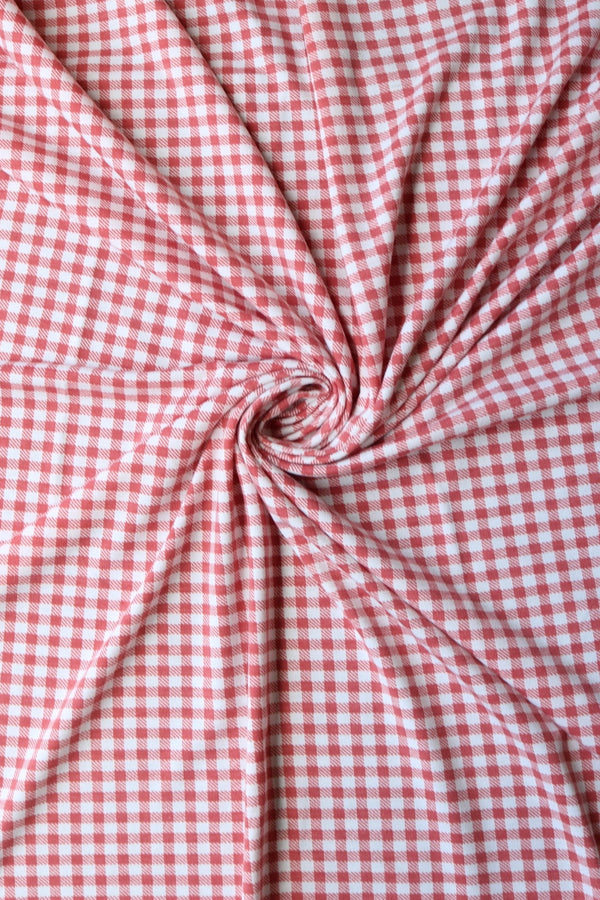 Mauve & Ivory Gingham French Terry
