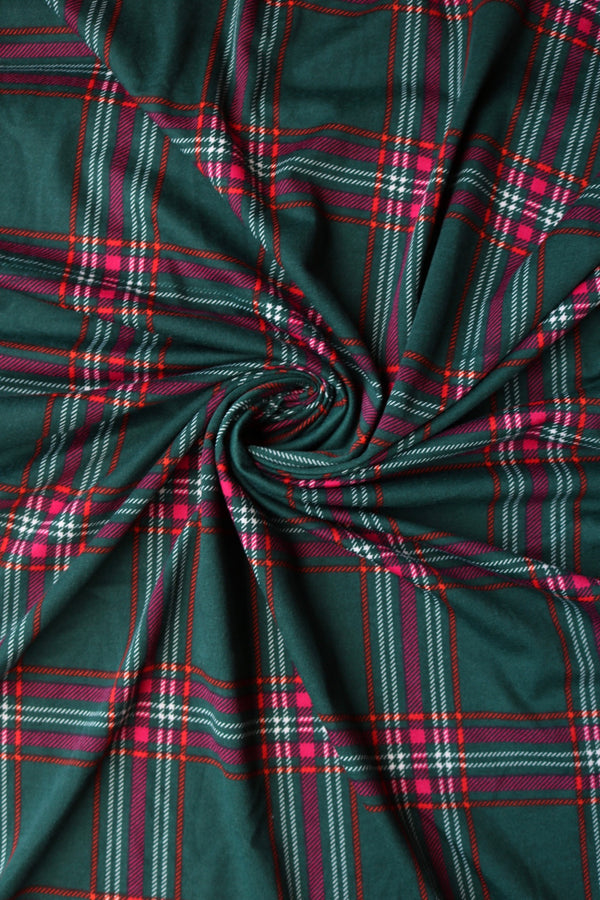 Fuchsia/Red/Ivory on Hunter Green Plaid French Terry