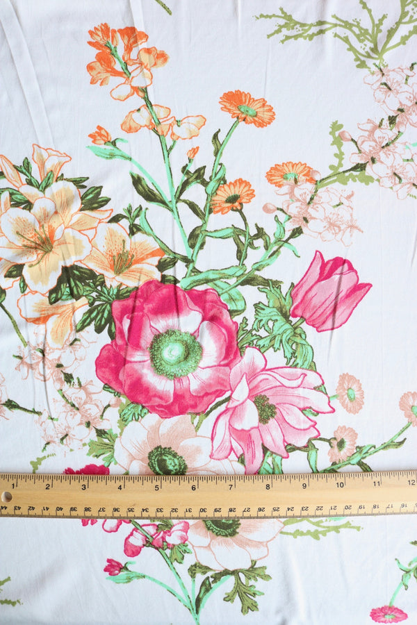 Esme Floral on Ivory Double Brushed Poly