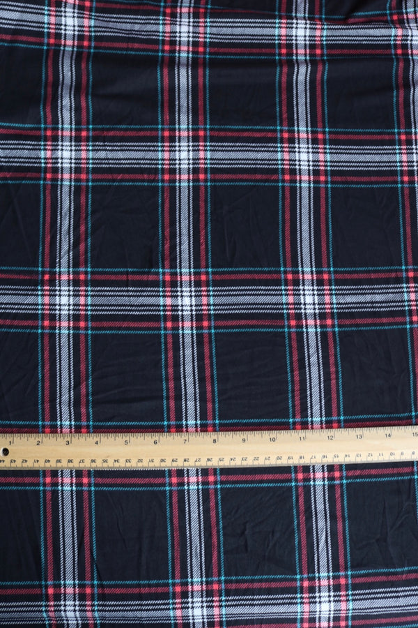 Black & Coral Window Pane Plaid Double Brushed Poly