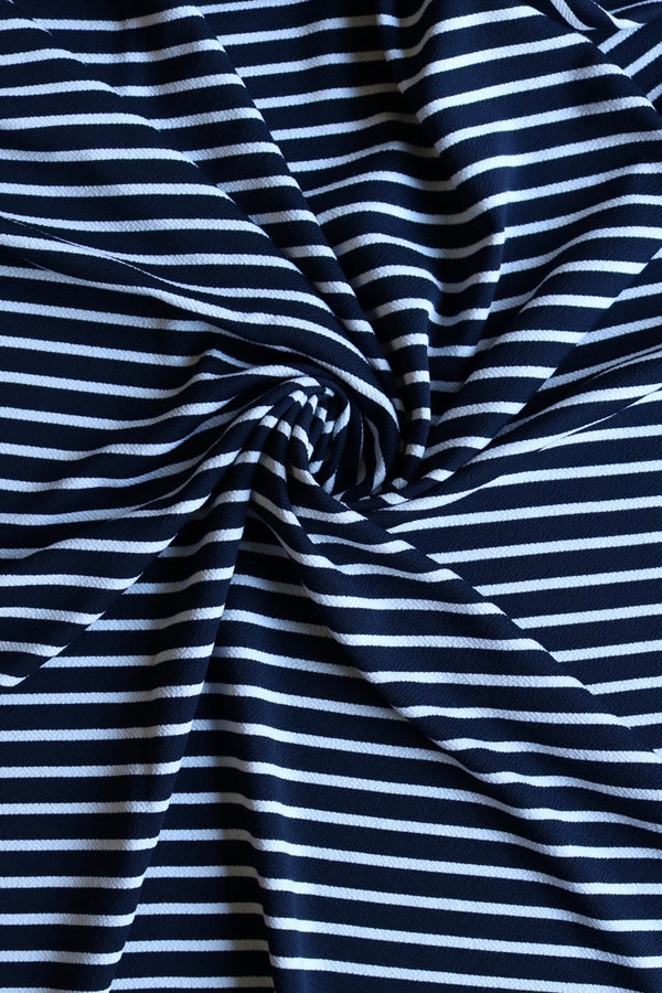Ivory on Navy Horizontal Stripe Liverpool