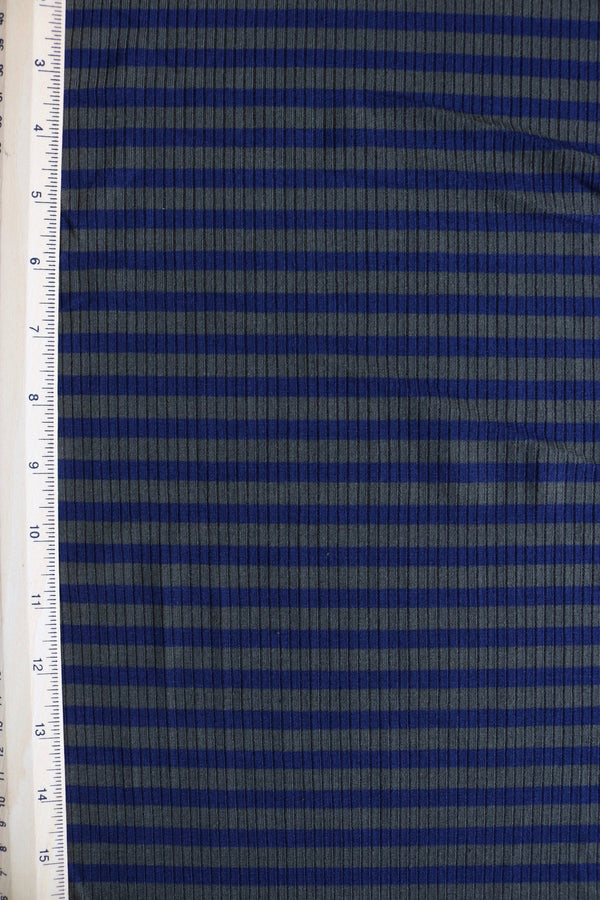 Olive & Navy Yarn Dyed Stripe 4x2 Rib Knit