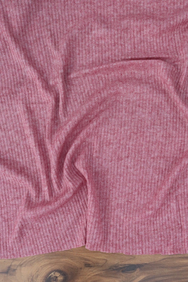 Heathered Berry Berlin Brushed Rib Sweater Knit