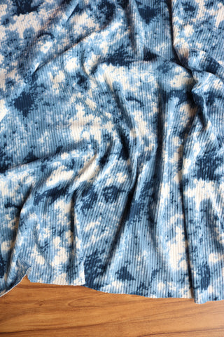 Denim Wash Tie Dye Poly Rib Knit