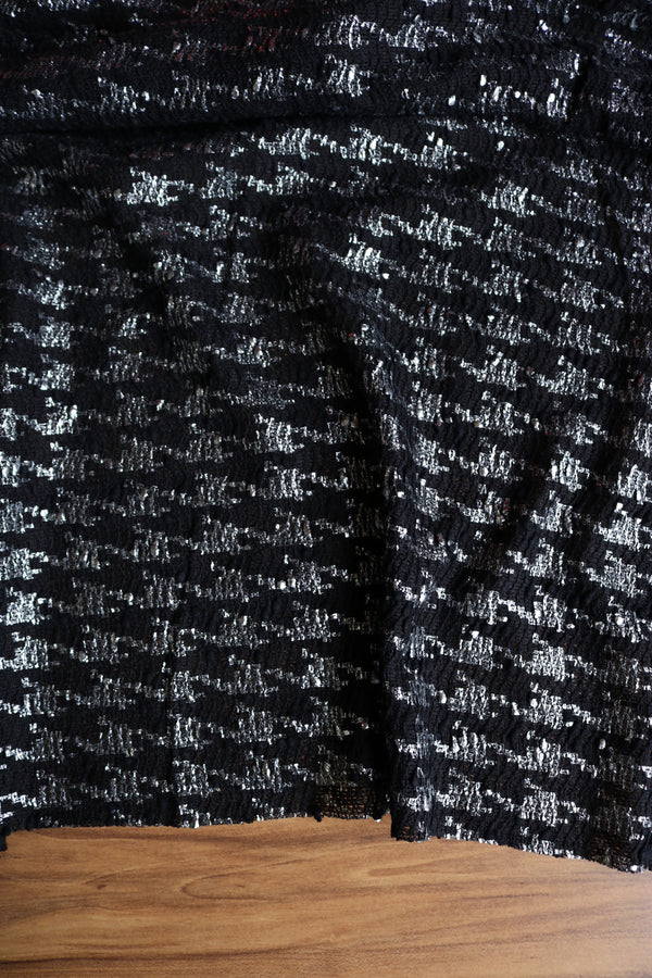 Black & Silver Houndstooth Foil Sweater Knit