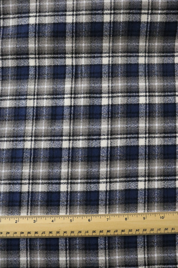 Ash/Blue Plaid Robert Kaufman Mammoth Flannel